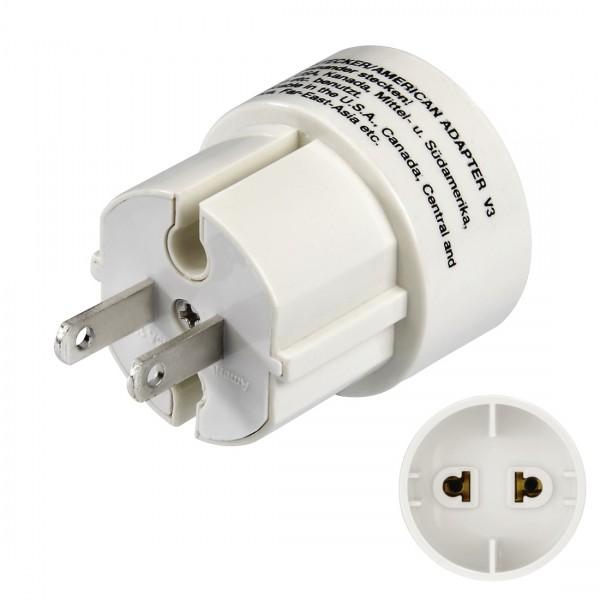 Hama Reiseadapter mit Stecker Typ A (Amerika) zum Anschluss von Geräten mit Euro-Flachstecker / Konturen-Stecker (zwei-polige Stecker)