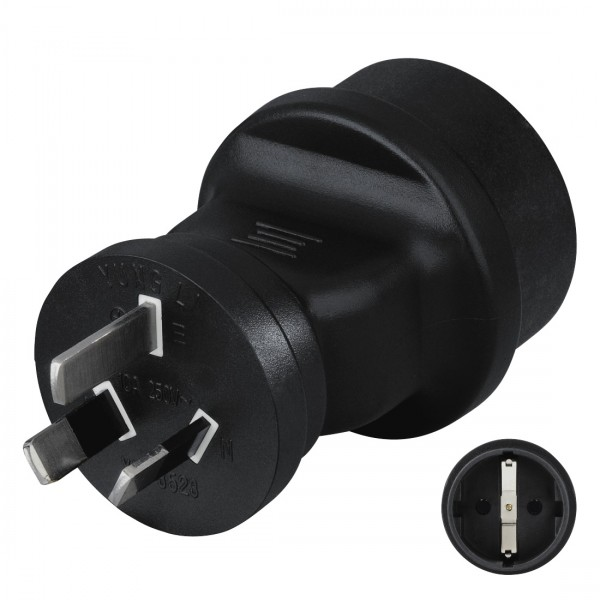 Hama Reiseadapter mit Stecker Typ I (China/Australien) zum Anschluss von Geräten mit deutschem Schutzkontakt-Stecker sowie Euro-Flachstecker / Konturen-Stecker