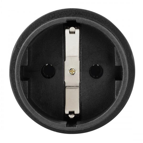 Hama Reiseadapter mit Buchse zum Anschluss von Geräten mit deutschem Schutzkontakt-Stecker sowie mit Euro-Flachstecker oder Konturen-Stecker