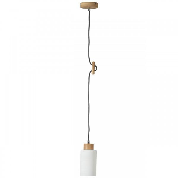 Brilliant 23070/35 Nature Pendelleuchte, 1-flammig Holz/Glas Beleuchtung