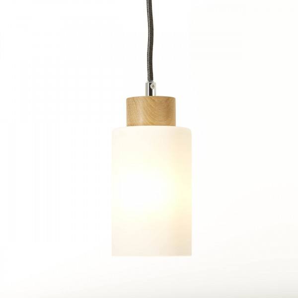 Brilliant 23070/35 Nature Pendelleuchte, 1-flammig Holz/Glas Lampe