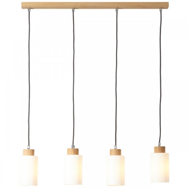 Brilliant 23074/35 Nature Pendelleuchte, 4-flammig Holz/Glas Lampe