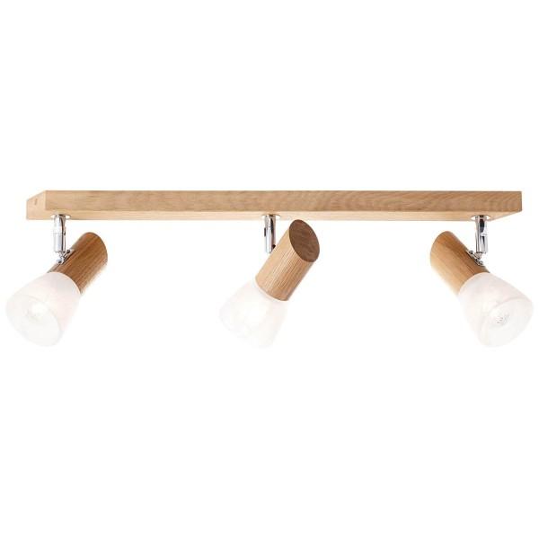 Brilliant 23130/35 Forest Spotbalken, 3-flammig Holz/Glas Leuchte