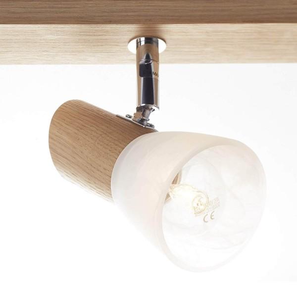 Brilliant 23130/35 Forest Spotbalken, 3-flammig Holz/Glas Haengeleuchte