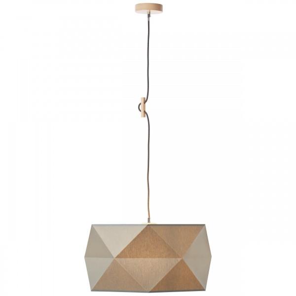 Brilliant 31970/63 Polygon Pendelleuchte 43cm Holz/Textil Beleuchtung