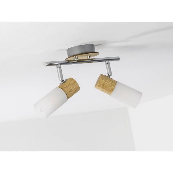 Brilliant 51413/50 Babsan Spotrohr, 2-flammig Metall/Holz/Kunststoff Deckenleuchte