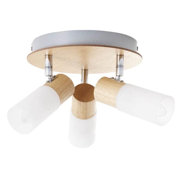 Brilliant 51434/50 Babsan Spotrondell, 3-flammig Metall/Holz/Kunststoff Beleuchtung