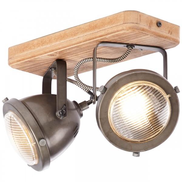 Brilliant 72029/84 Carmen Wood Spotbalken, 2-flammig Metall/Holz Leuchte
