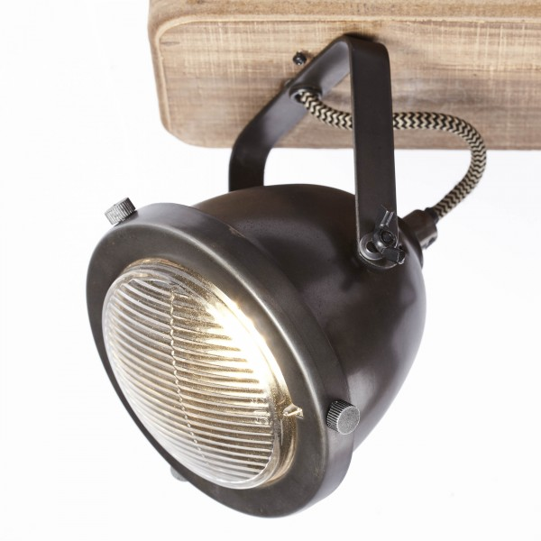 Brilliant 72029/84 Carmen Wood Spotbalken, 2-flammig Metall/Holz Beleuchtung