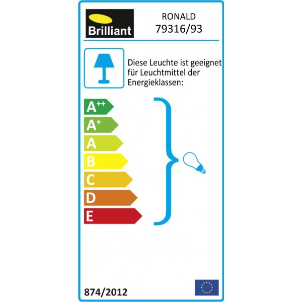Brilliant 79316/93 Ronald Spotrohr, 3-flammig Metall/Glas Stehlampe
