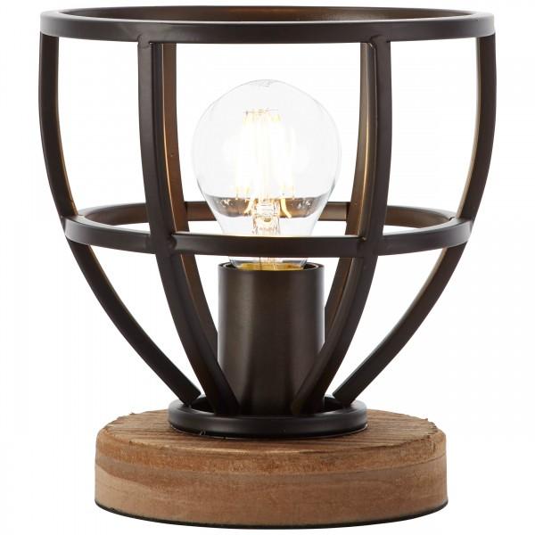 Brilliant 92610/76 Matrix Tischleuchte 18cm Metall/Holz Lampe