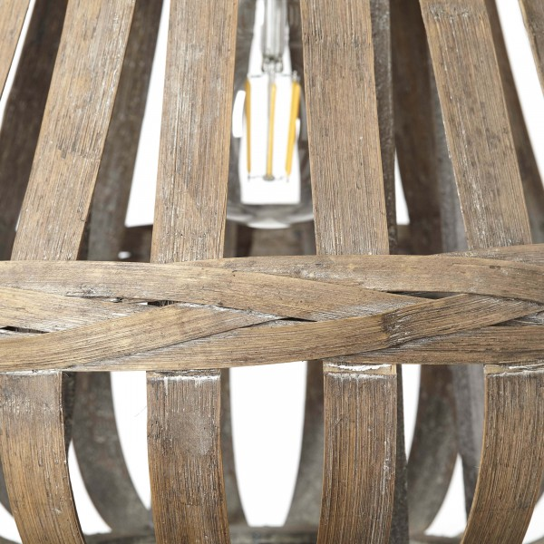 Brilliant 93579/09 Kaminika Pendelleuchte 44cm Metall/Bambus Leuchten