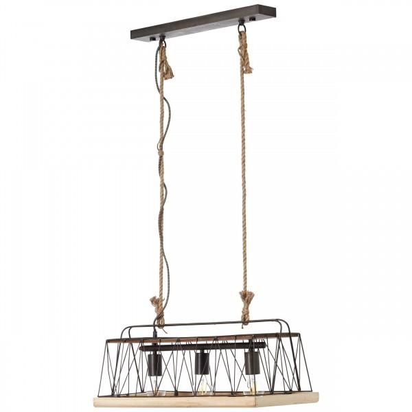 Brilliant 93587/71 Narcy Pendelleuchte, 3-flammig Metall/Holz schoene lampenwelt