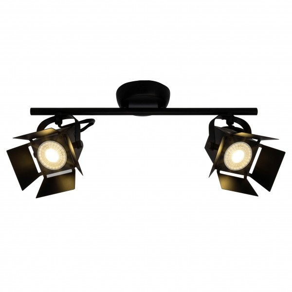 Brilliant G08913/76 Movie Spotrohr, 2-flammig Metall schwarz LED Lampen