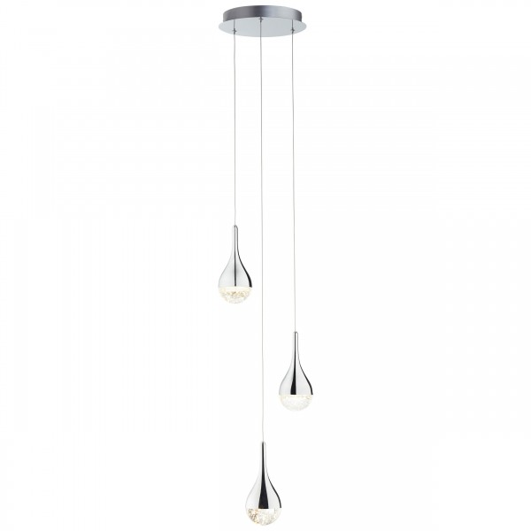 Brilliant G93423/15 Frizzante Pendelleuchte, 3-flammig Metall/Glas LED Lampen
