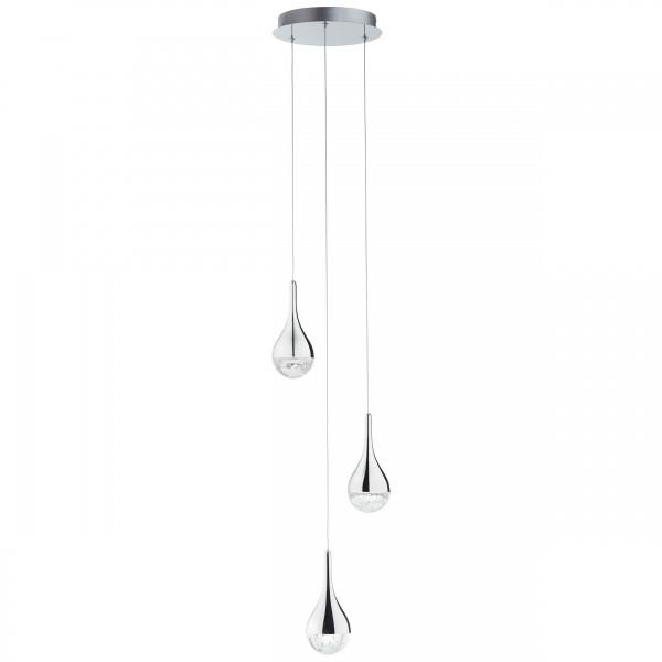 Brilliant G93423/15 Frizzante Pendelleuchte, 3-flammig Metall/Glas schoene lampenwelt