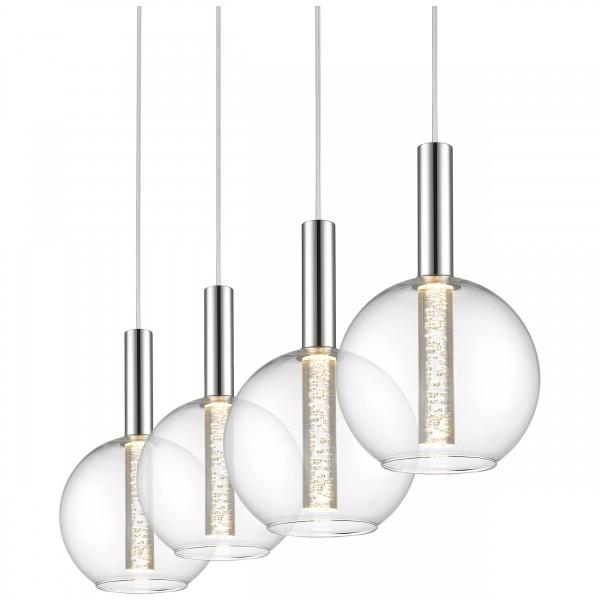 Brilliant G93527/15 Elegant Pendelleuchte, 4-flammig Glas/Metall schoene lampenwelt