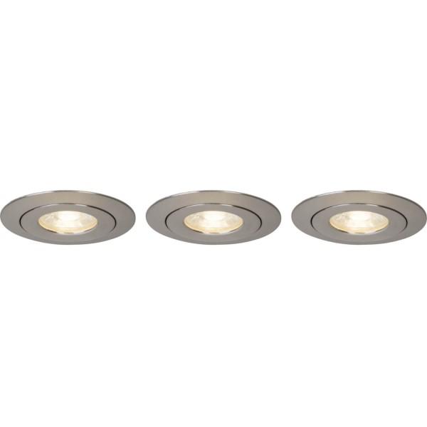 Brilliant G94682/13 Nodus Einbauleuchtenset: 3 Stueck, schwenkbar Kunststoff LED Lampen
