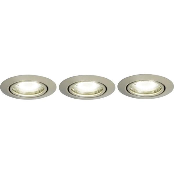 Brilliant G94688A13 Honor Einbauleuchtenset: 3 Stueck, schwenkbar Metall LED Lampen