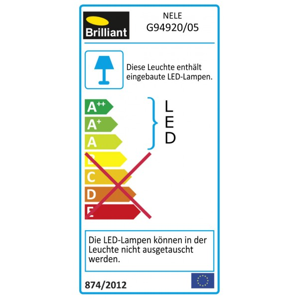 Brilliant G94920/05 Nele Tischleuchte mit Touchdimmer Kunststoff/Metall schoene lampenwelt