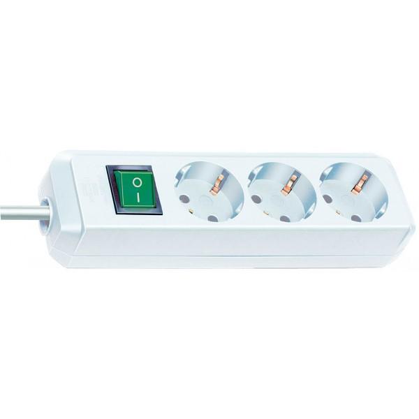 Brennenstuhl Eco-Line Steckdosenleiste mit Schalter 3-fach weiß 3m H05VV-F 3G1,5