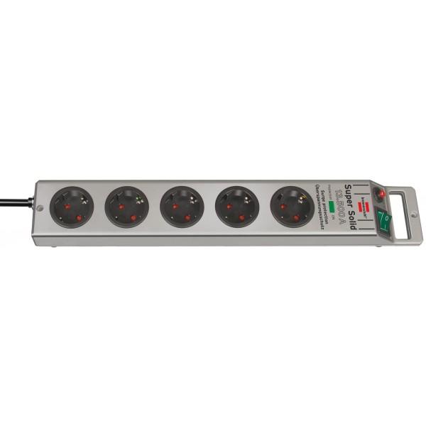 Brennenstuhl Super-Solid 13.500A Überspannungsschutz-Steckdosenleiste 5-fach silber 2,5m H05VV-F 3G1,5