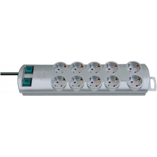Brennenstuhl Primera-Line Steckdosenleiste 10-fach silber 2m H05VV-F 3G1,5 2x 5-fach schaltbare Steckdosen