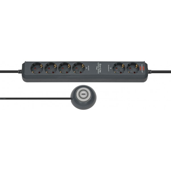 Brennenstuhl Eco-Line Steckdosenleiste mit Hand-/Fu??schalter 6-fach anthrazit, 2 permanente + 4 schaltbare Dosen mit 1,5m Zuleitung