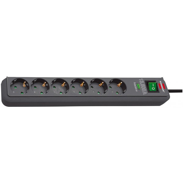 Brennenstuhl Eco-Line 13.500A Überspannungsschutz-Steckdosenleiste 6-fach anthrazit 1,5m H05VV-F 3G1,5