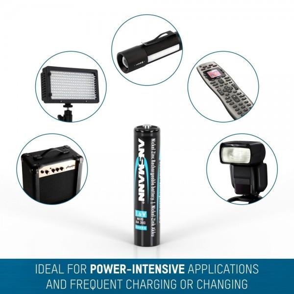ANSMANN NiZN Akkus Micro AAA, 1,6V, 900mWh, in 4er Schrumpfverpackung – ideal für Digitalkameras, Blitzgeräte & medizinische Geräte