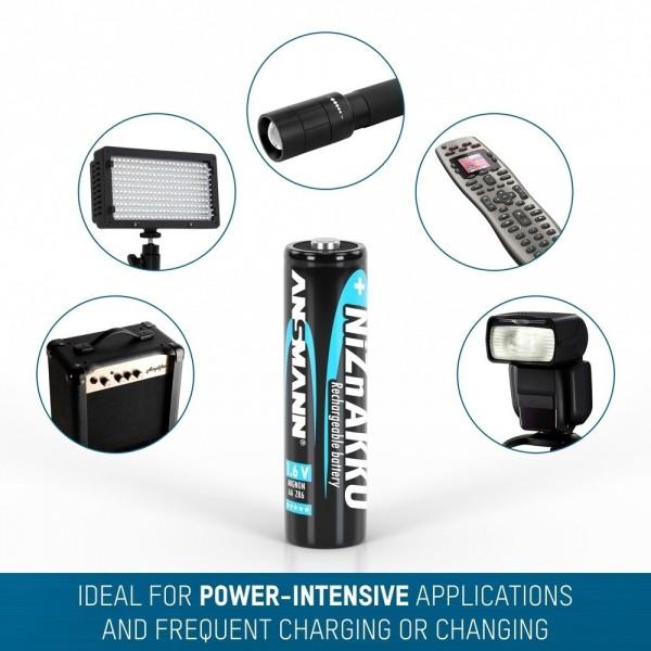 ANSMANN NiZN Akkus Micro AA, 1,6V, 2500mWh, in 4er Schrumpfverpackung – ideal für Digitalkameras, Blitzgeräte & medizinische Geräte