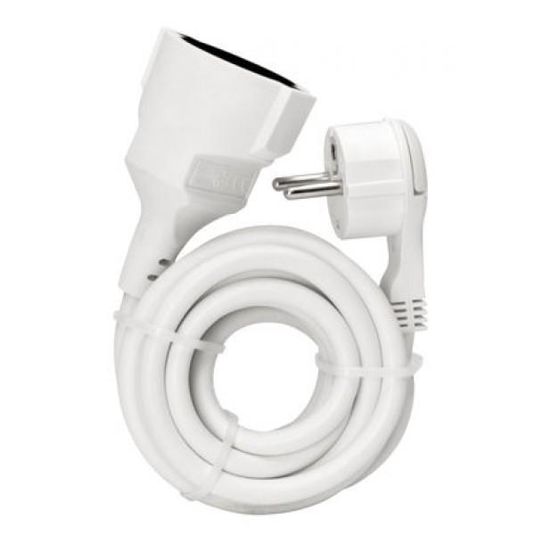 Kopp Verlängerung: Schutzkontakt-Winkelstecker und Schutzkontakt-Kupplung mit 3m Kabel, weiß