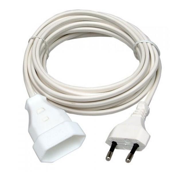 Kopp Europa-Verlängerung: Euro-Stecker und Euro-Kupplung mit 5m Kabel H03VVH2-F 2x0,75mm², 2-polig, 2,5A, 250V AC, weiß