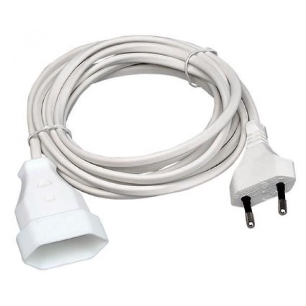 Kopp Europa-Verlängerung: Euro-Stecker und Euro-Kupplung mit 3m Kabel H03VVH2-F 2x0,75mm², 2-polig, 2,5A, 250V AC, weiß