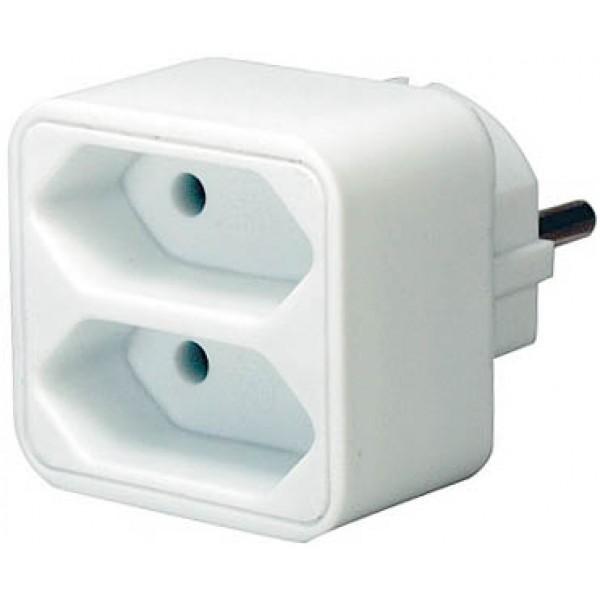 Brennenstuhl Adapterstecker mit zwei Eurosteckdosen weiß