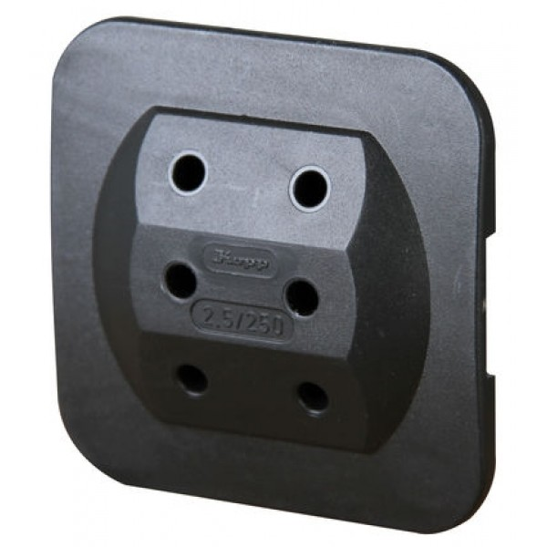 Kopp 3-fach Adapter: Anschluss für 3 Euro-Stecker, extra flach, 2,5 A, 250 V AC, schwarz