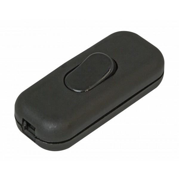Kopp Schnur-Zwischenschalter für Flach- und Rundleitungen, 1-polig, Wippen-Ausschalter mit Zugentlastung, 2A, 250V AC, schwarz