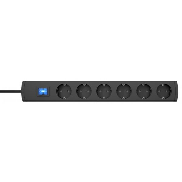 Kopp UNOversal Steckdosenleiste mit Schalter, 6-fach, anschraubbar, IP20, 16A/250V, 3m Zuleitung, anthrazit