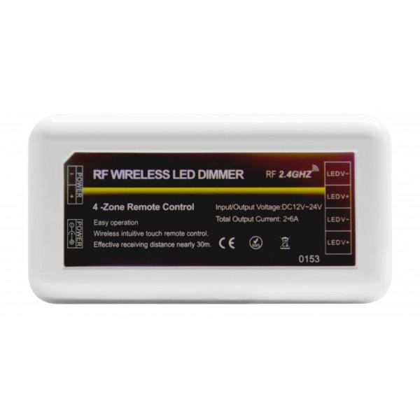 4 Zonen Funkcontroller für einfarbige Streifen - Vorderansicht