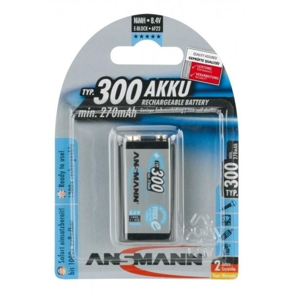 ANSMANN NiMH Akku Batterie LSD 9V E-Block Typ 300 (min. 270 mAh) maxE, 1er Blister
