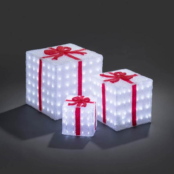 LED Geschenkboxen 3er Set: Gartenleuchte und Dekolicht aus Acryl