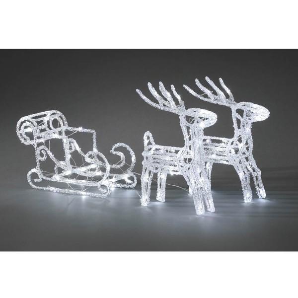 Konstsmide 6192-203 LED Acrylfigur Schlitten mit 2 Rentieren weihnachtsdeko