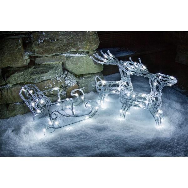 Konstsmide 6192-203 LED Acrylfigur Schlitten mit 2 Rentieren weihnachtsbeleuchtung