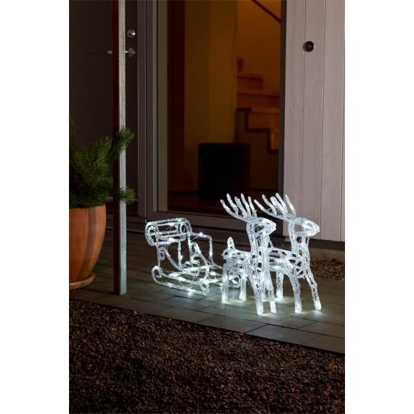 Konstsmide 6192-203 LED Acrylfigur Schlitten mit 2 Rentieren fensterdeko