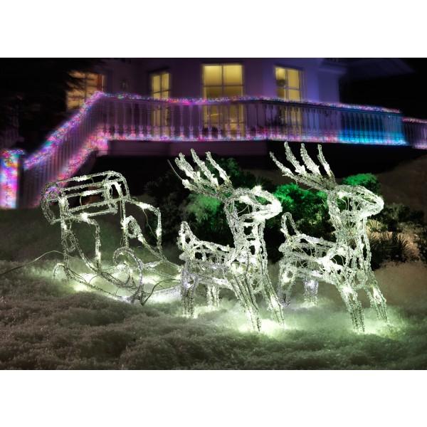 Konstsmide 6192-203 LED Acrylfigur Schlitten mit 2 Rentieren led weihnachtsbeleuchtung