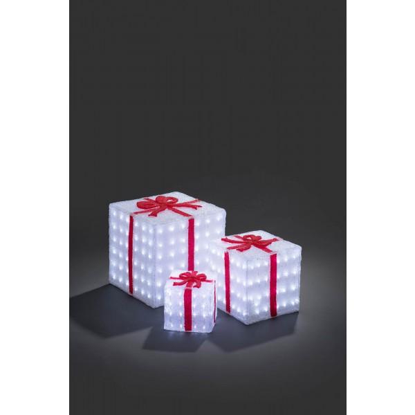 Konstsmide 6198-203 LED Acryl Geschenkboxen 3er Set weihnachtsdeko
