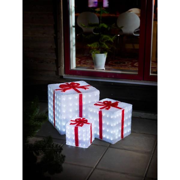 Konstsmide 6198-203 LED Acryl Geschenkboxen 3er Set weihnachtsbeleuchtung