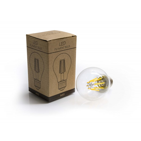 8W LED Filament Lampe E27 A60 mit Packung