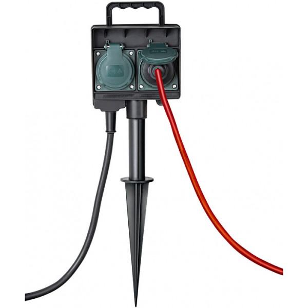Brennenstuhl Gartensteckdose mit Erdspieß IP44 Anwendungsbeispiel