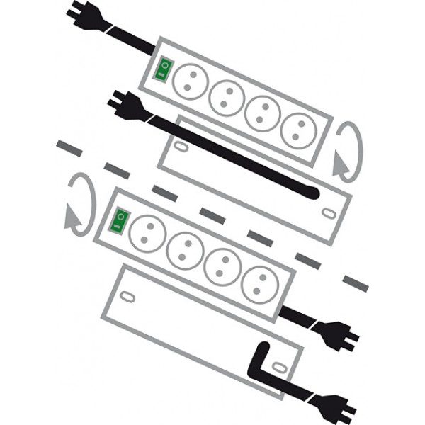 Brennenstuhl Primera-Line Steckdosenleiste 10-fach - Schema Kabelausgang - variabel auf beiden Seiten möglich
